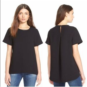 Madewell leather trim Tailored top blouse